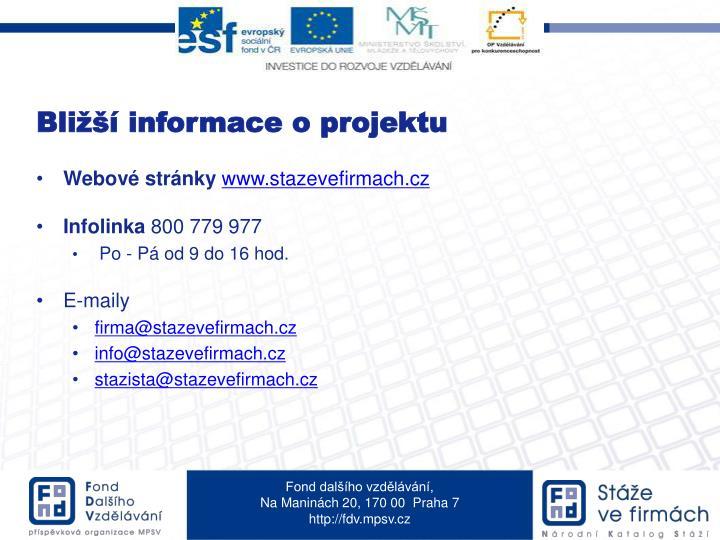 Bližší informace o projektu
