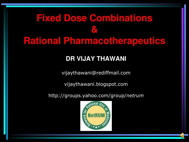 fixed dose combinations rational pharmacotherapeutics n.