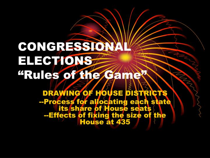 congressional elections rules of the game n.