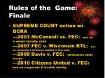 rules of the game finale