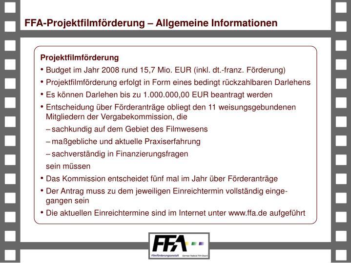 FFA-Projektfilmförderung – Allgemeine Informationen