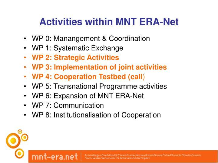 Activities within MNT ERA-Net