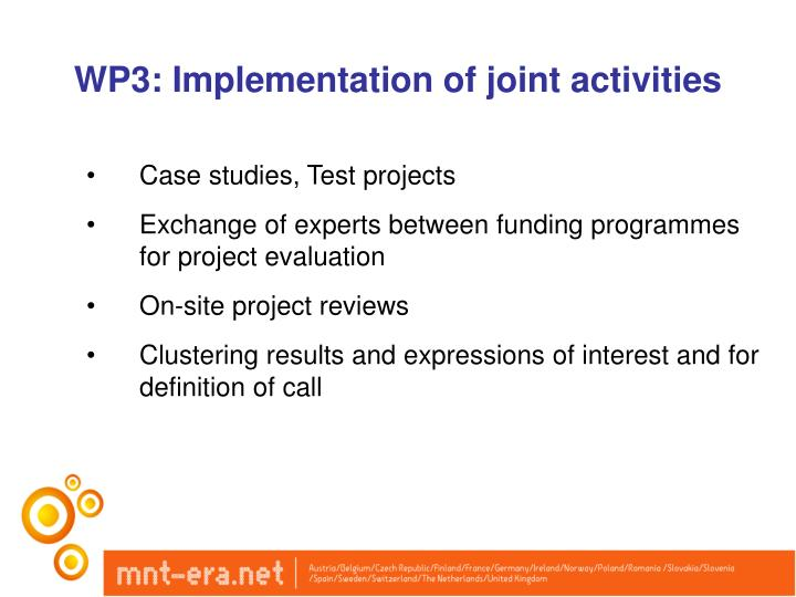 WP3: Implementation of joint activities