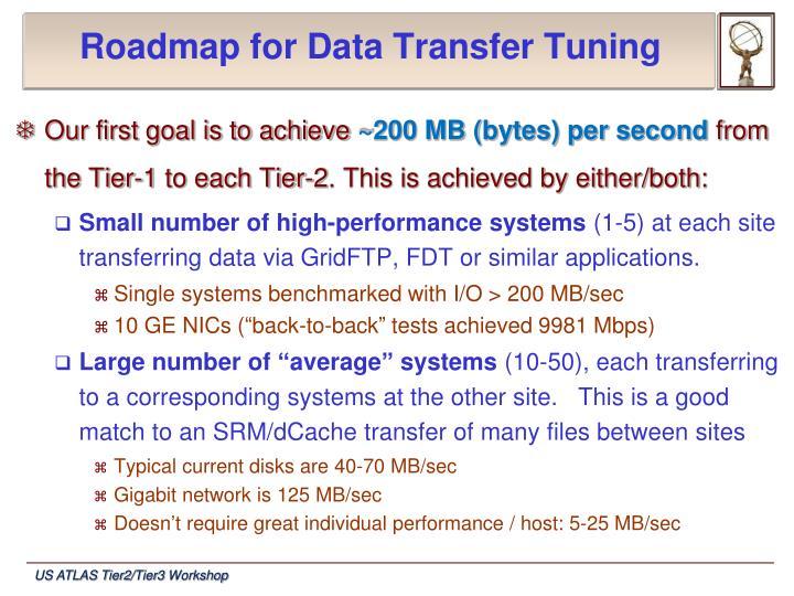 Roadmap for data transfer tuning