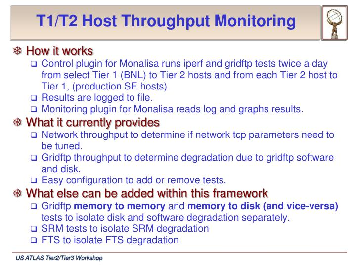 T1/T2 Host Throughput Monitoring