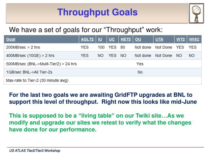 Throughput Goals