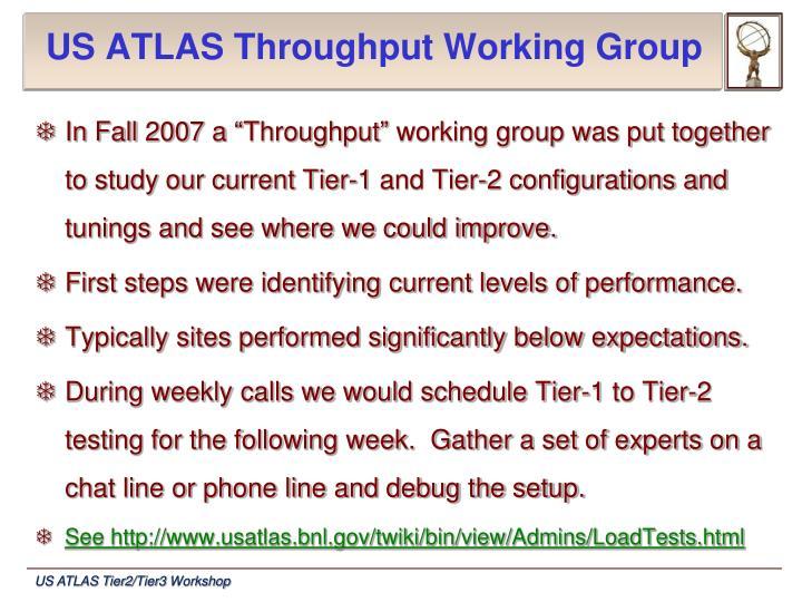 Us atlas throughput working group