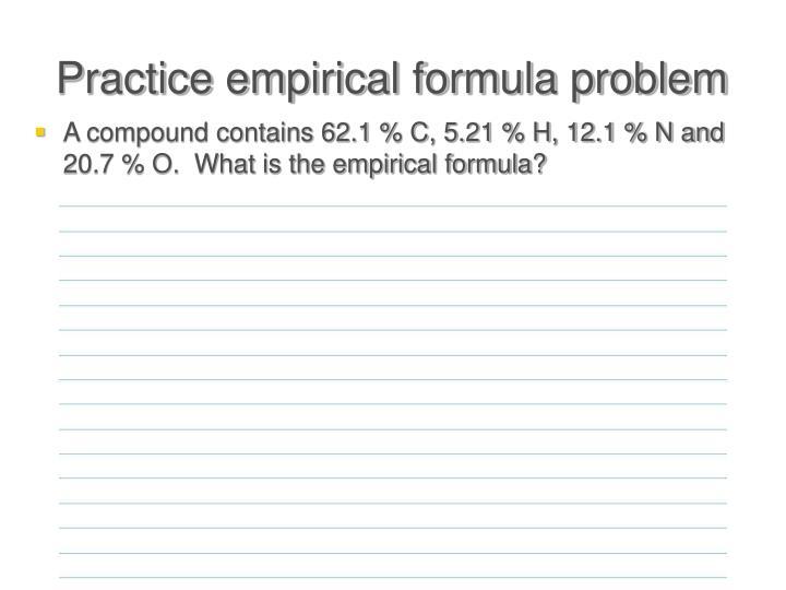 Practice empirical formula problem