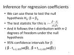 inference for regression coefficients
