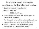 interpretation of regression coefficients for transformed y value