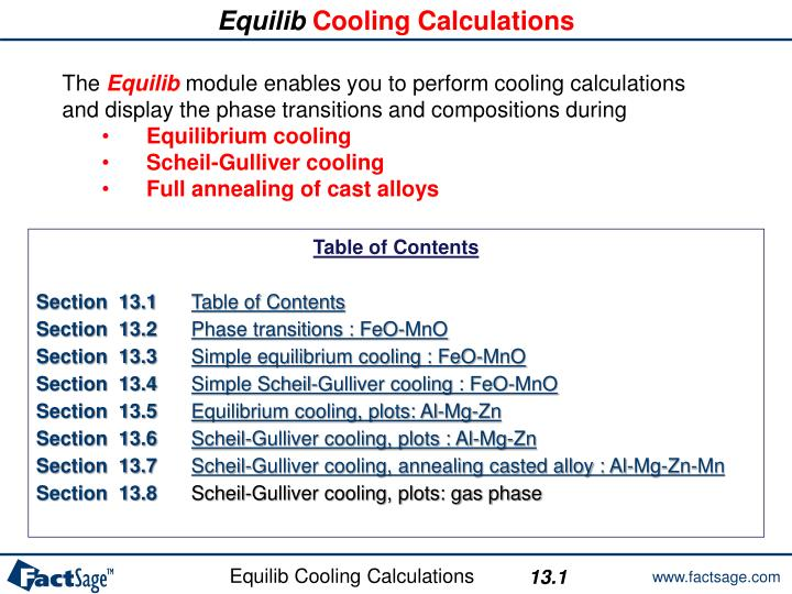 equilib cooling calculations n.