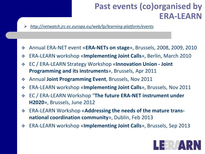 Past events (co)organised by ERA-LEARN