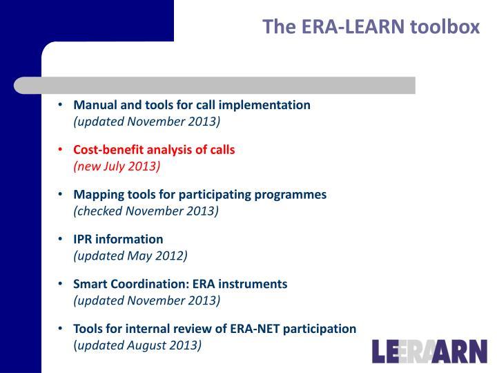 The ERA-LEARN toolbox