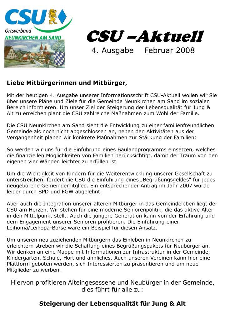 Csu aktuell 4 ausgabe februar 2008