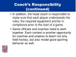 coach s responsibility continued