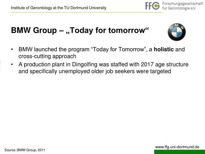 """BMW Group – """"Today for tomorrow"""""""