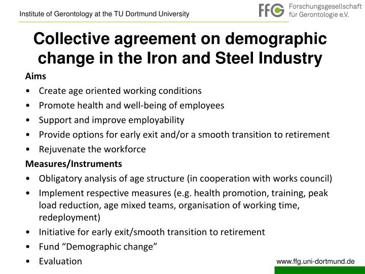 Collective agreement on demographic change in the Iron and Steel Industry