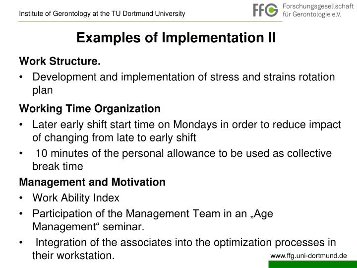Examples of Implementation II
