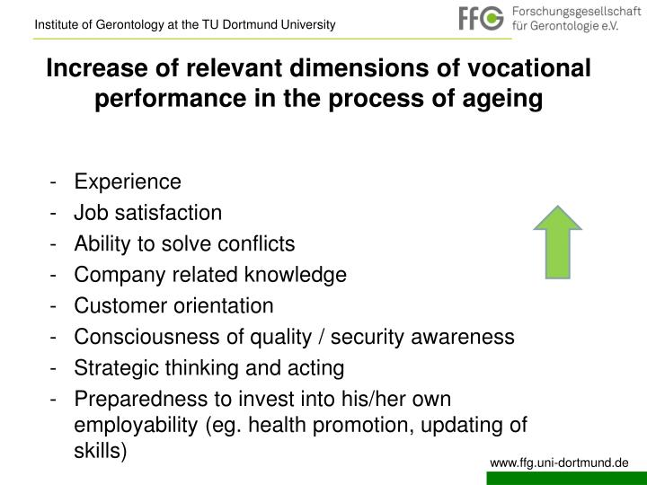 Increase of relevant dimensions of vocational performance in the process of ageing