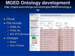 mged ontology development http mged sourceforge net ontologies mgedontology php