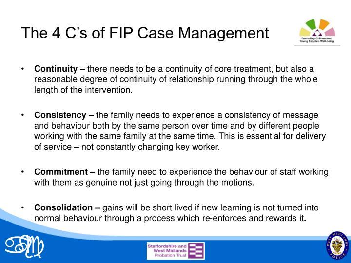 The 4 C's of FIP Case Management