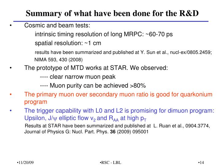 Summary of what have been done for the R&D