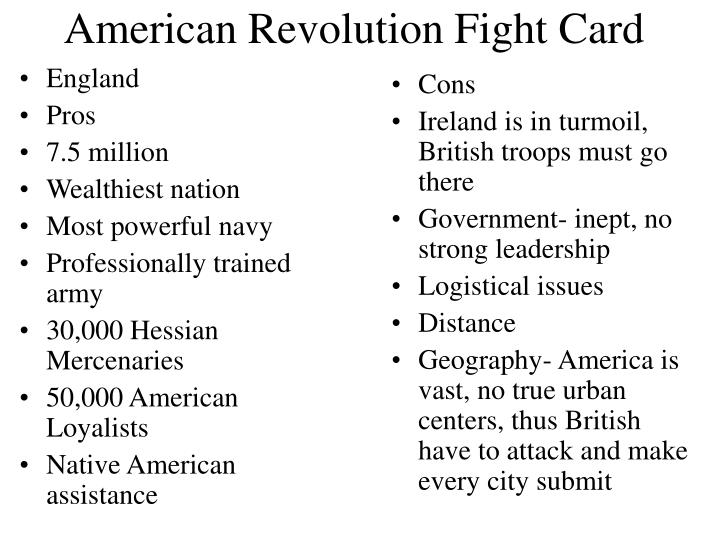 pros and cons of the american revolution