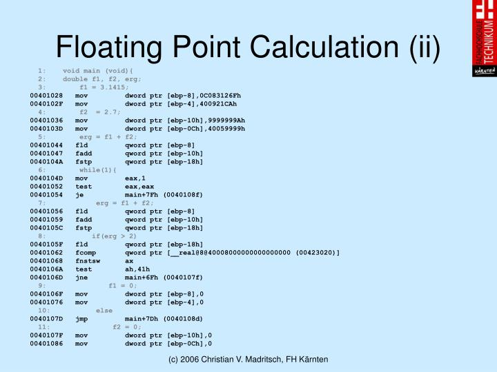 Floating Point Calculation (ii)