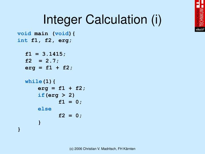 Integer Calculation (i)