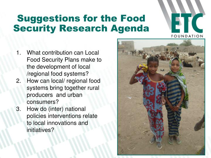 Suggestions for the Food Security Research Agenda