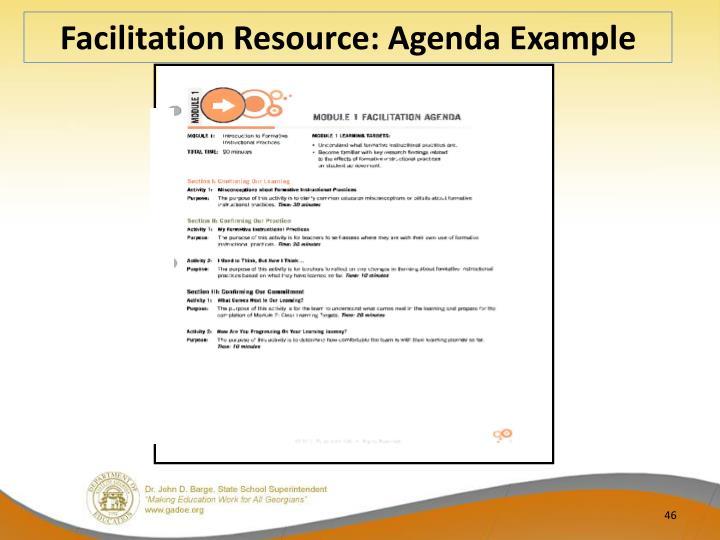 Facilitation Resource: Agenda Example