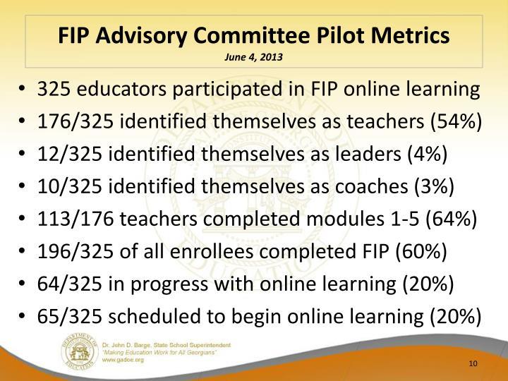 FIP Advisory Committee Pilot Metrics