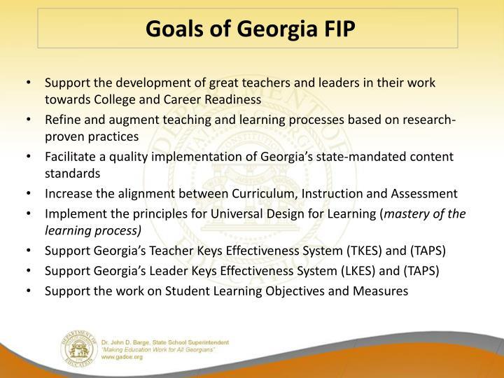 Goals of Georgia FIP