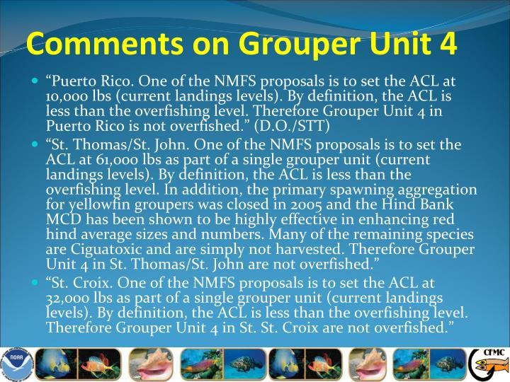 Comments on Grouper Unit 4
