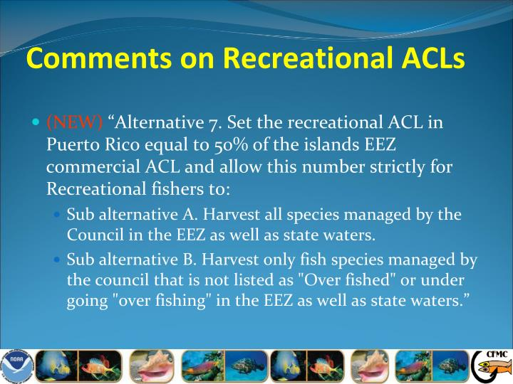 Comments on Recreational ACLs