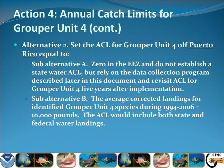 Action 4: Annual Catch Limits for Grouper Unit 4 (cont.)