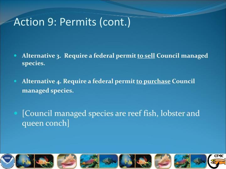 Action 9: Permits (cont.)