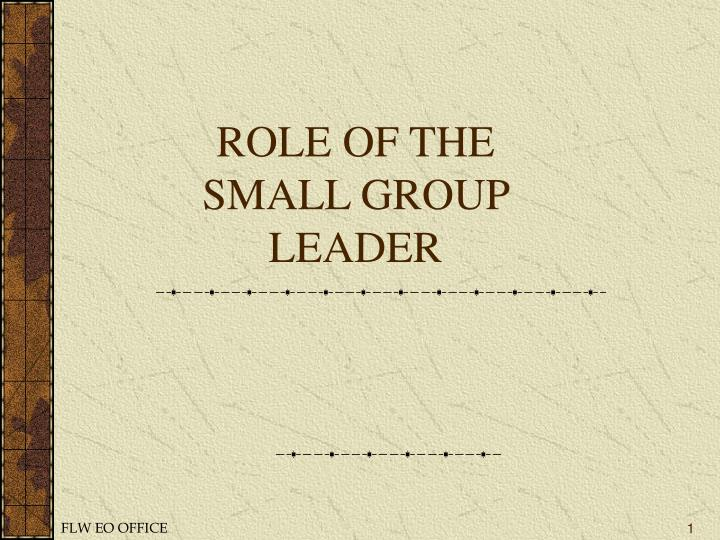 role of the small group leader n.