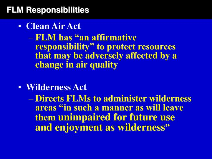 FLM Responsibilities