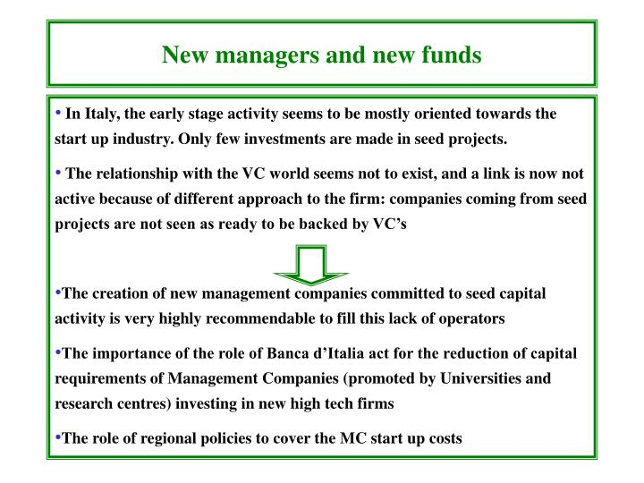 New managers and new funds
