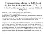 winning proposals selected for flight aboard the final shuttle mission atlantis sts 135