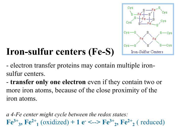 Iron-sulfur centers (Fe-S)