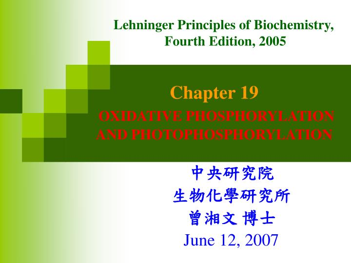 chapter 19 oxidative phosphorylation and photophosphorylation n.