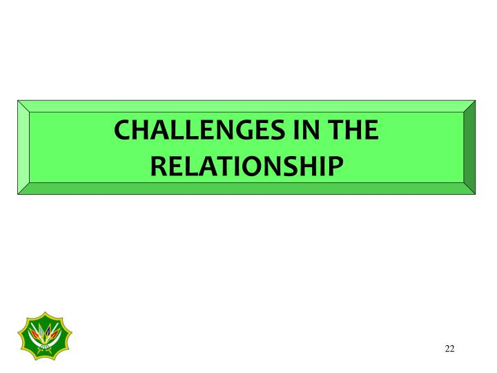CHALLENGES IN THE RELATIONSHIP