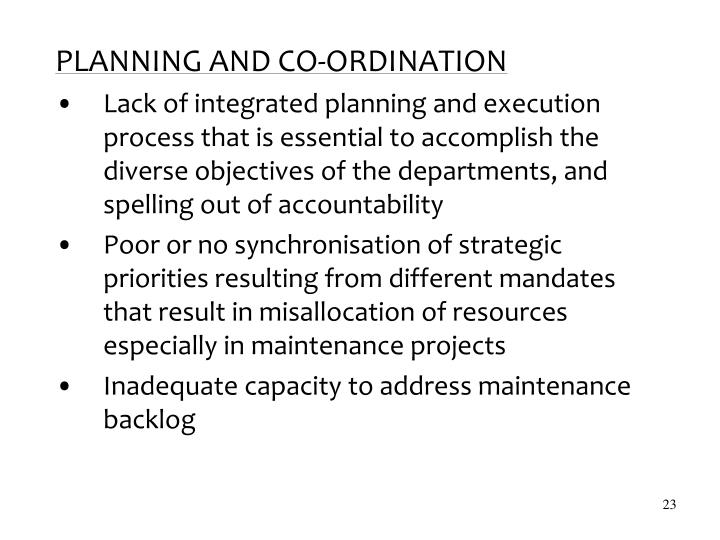 PLANNING AND CO-ORDINATION