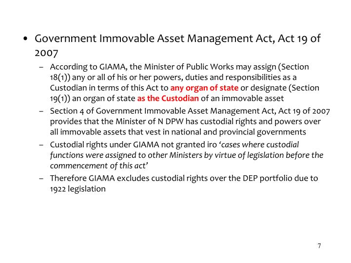 Government Immovable Asset Management Act, Act 19 of 2007
