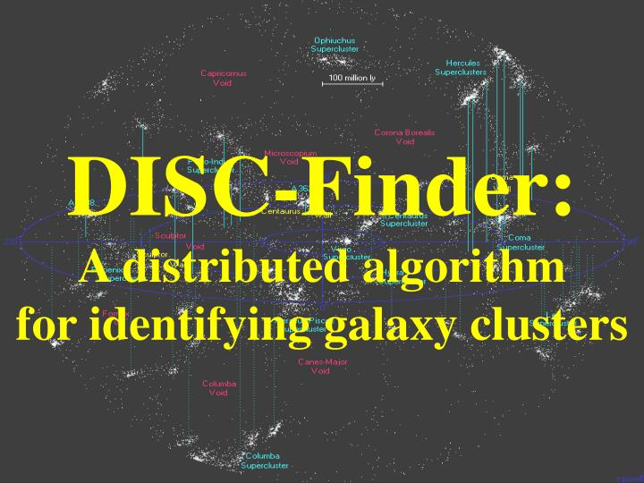 disc finder a distributed algorithm for identifying galaxy clusters n.
