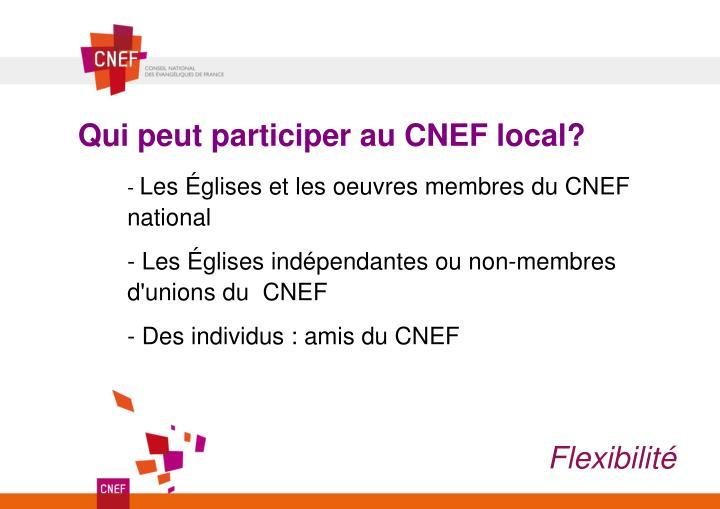 Qui peut participer au CNEF local?