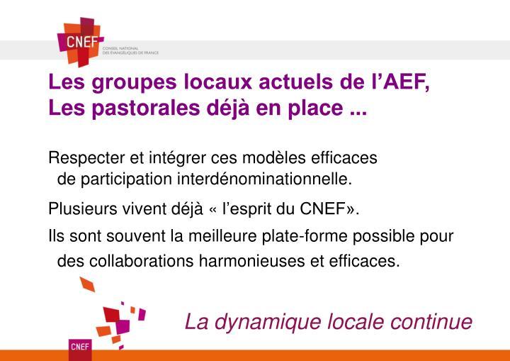 Les groupes locaux actuels de l'AEF,