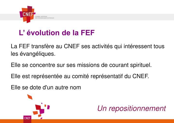 L' évolution de la FEF
